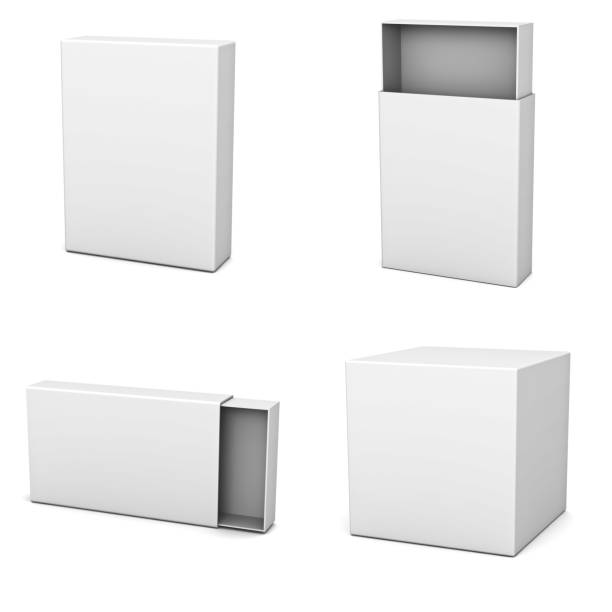 Collection of blank boxes stock photo