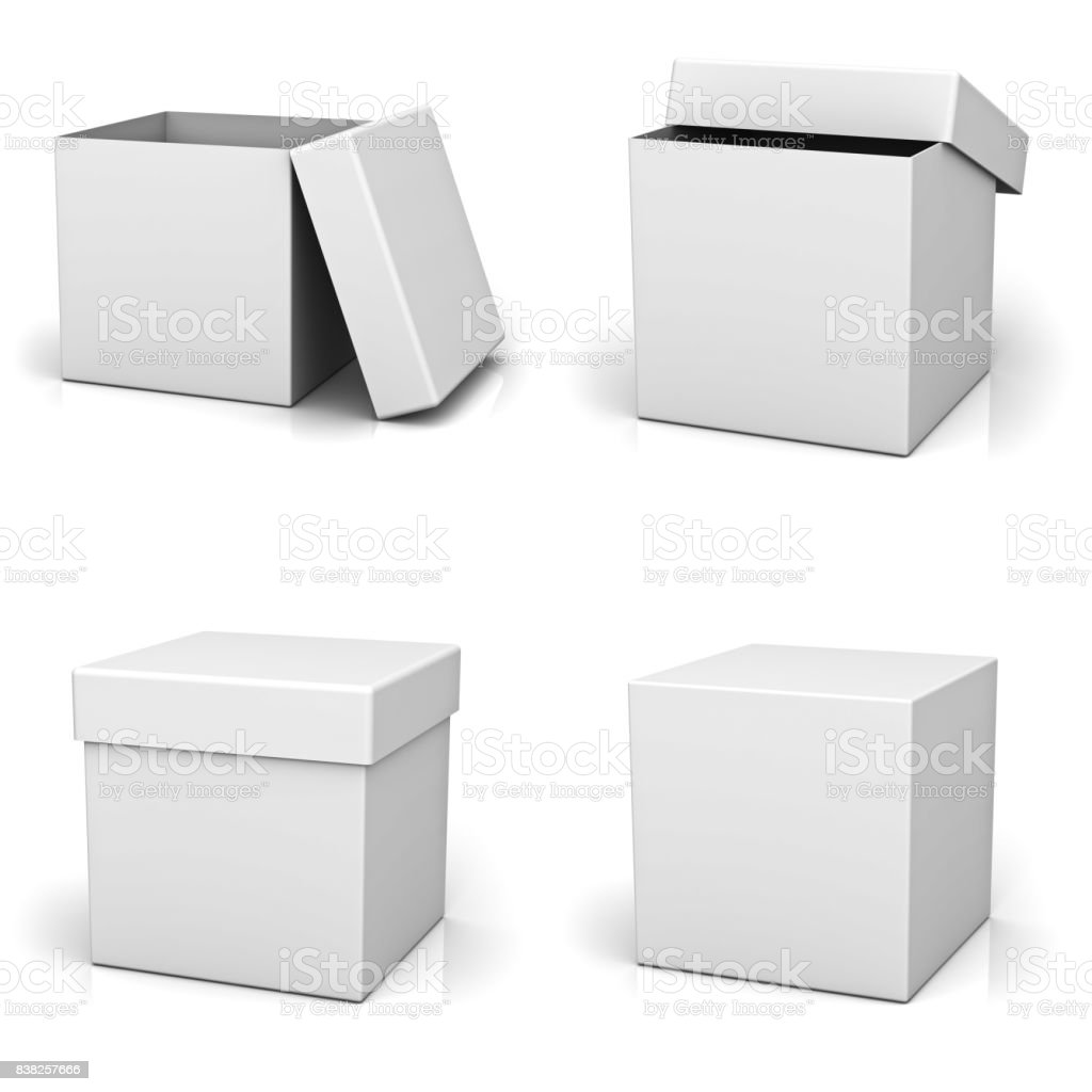 Collection of blank boxes with lid stock photo