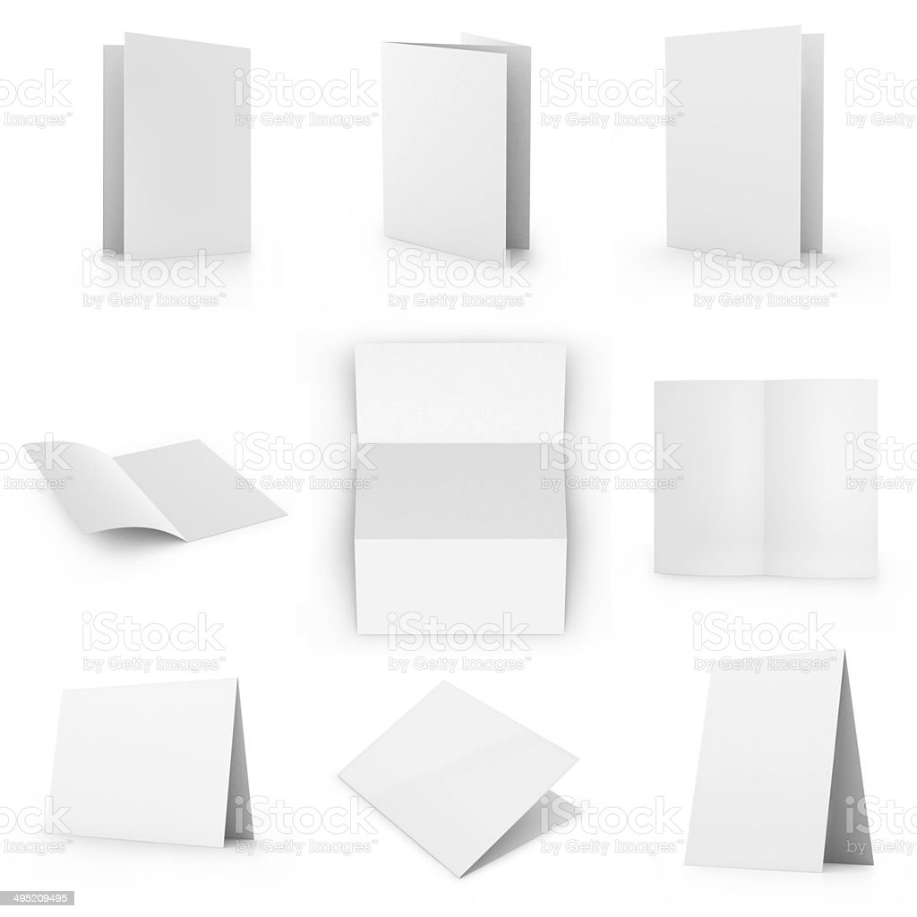 Collection of blank card, isolated on white stock photo