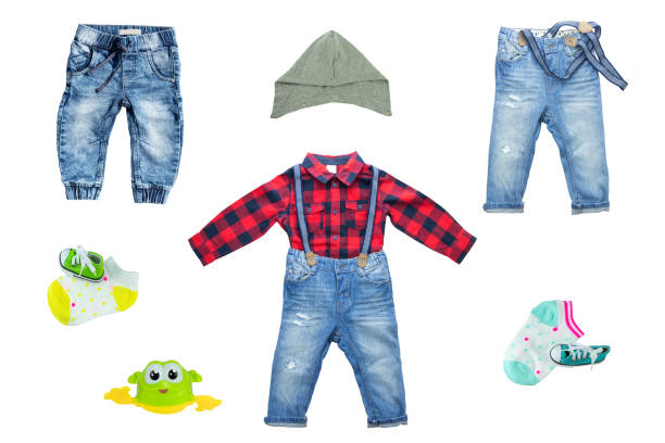 collection of blue jeans for boys isolated on white background. spring and summer fashion. - spring fashion stock pictures, royalty-free photos & images