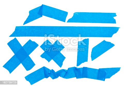 Royalt free stock photo of blue sticky tape isolated on white background.Shot in Raw and Post-processed in ProPhoto RGB. No sharpening applied.