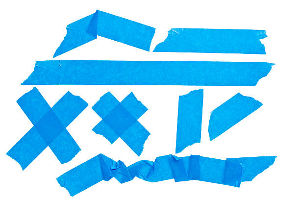 Collection of blue sticky tape isolated on white background stock photo