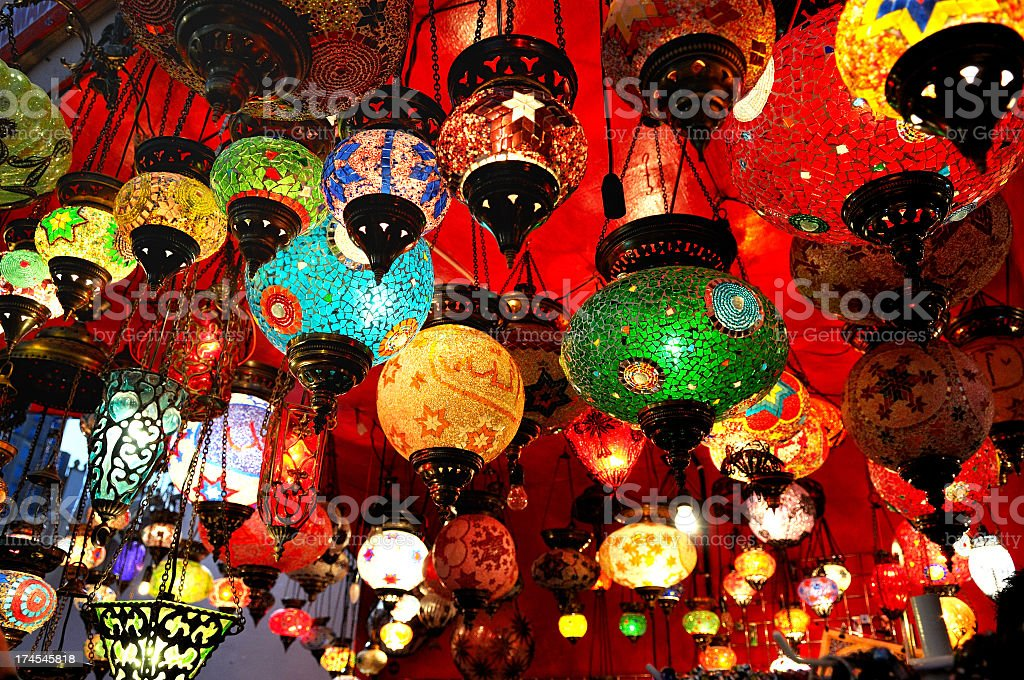 Collection of brightly colored Turkish hanging lamps royalty-free stock photo