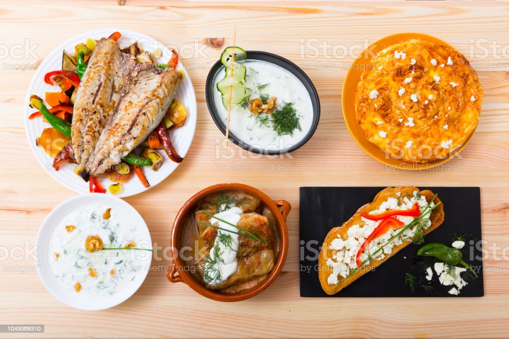 Collection of Bulgarian meals stock photo