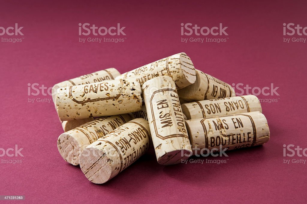Collection of Burgundy Wine Corks royalty-free stock photo