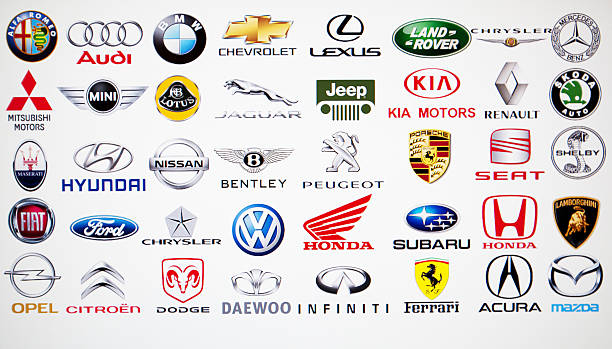 Collection of car brand logos stock photo