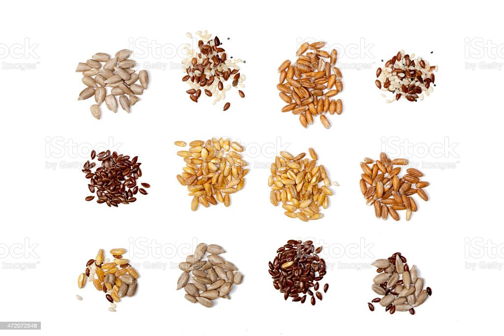 Collection of Cereal Grains and Seeds isolated on white background stock photo