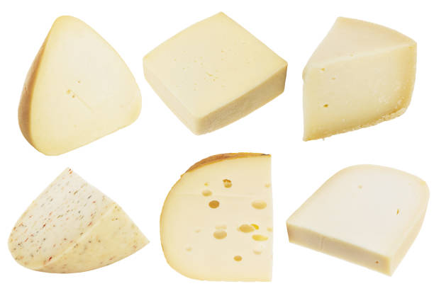 Collection of cheese pieces isolated on white background