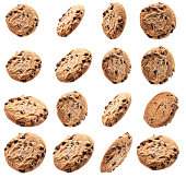 istock Collection of chocolate chip cookies on white background 1212793985