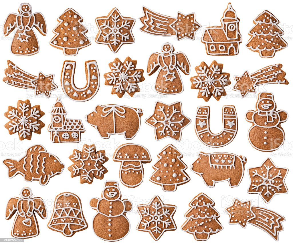 Collection of Christmas gingerbread cookies isolated on white stock photo