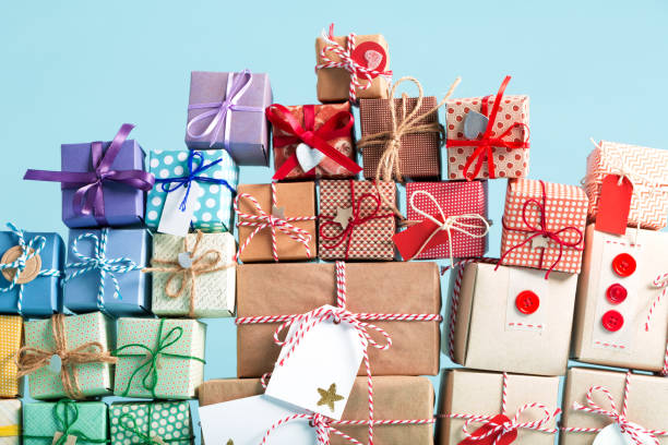 Collection of Christmas present boxes stock photo