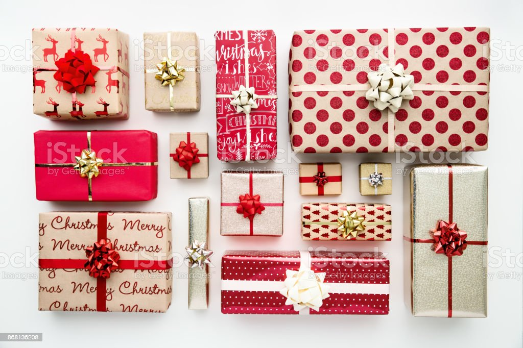 Collection of Christmas presents, overhead view stock photo