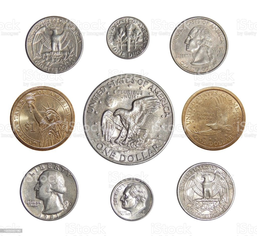 Collection of circulating coins of the USA (change coins of America) stock photo