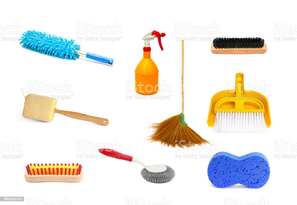 Collection of cleaning products and tools on white background foto de stock royalty-free