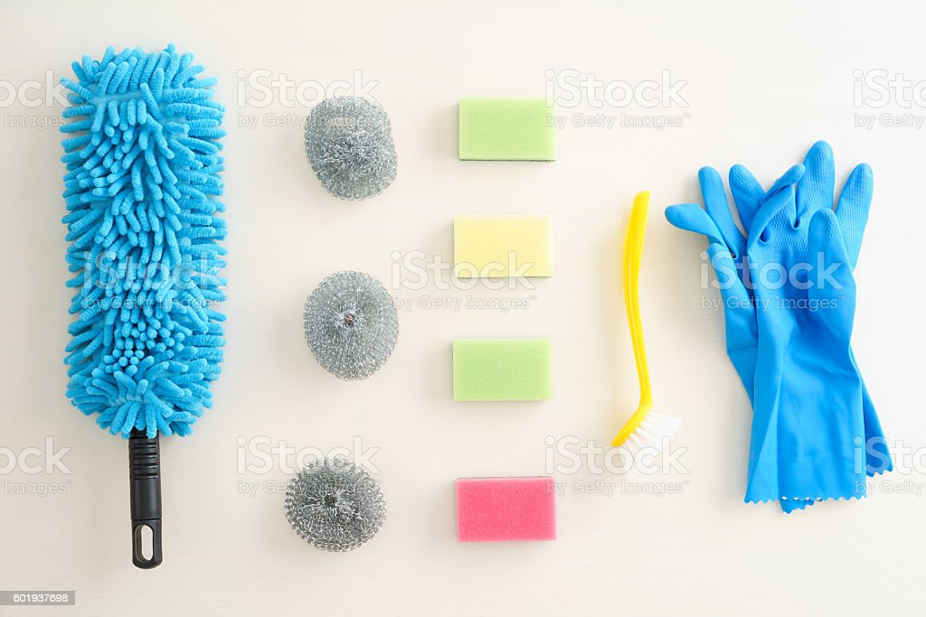 Collection of cleaning supplies stock photo