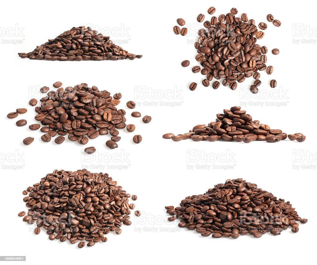 Collection of coffee beans heap on white stock photo
