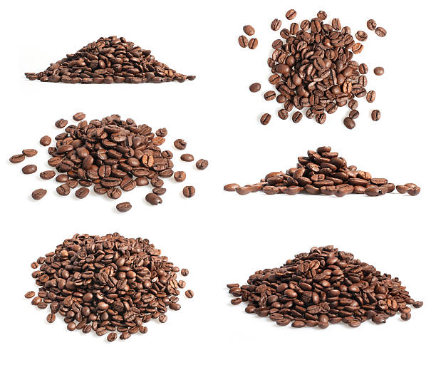 Collection of coffee beans heap on white Collection of coffee beans heap on white roasted coffee bean stock pictures, royalty-free photos & images