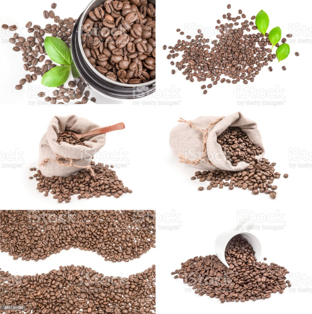 Collection of coffee grains on a isolated white background foto stock royalty-free