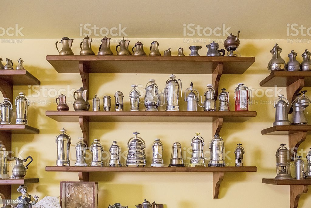 Collection of coffee makers stock photo