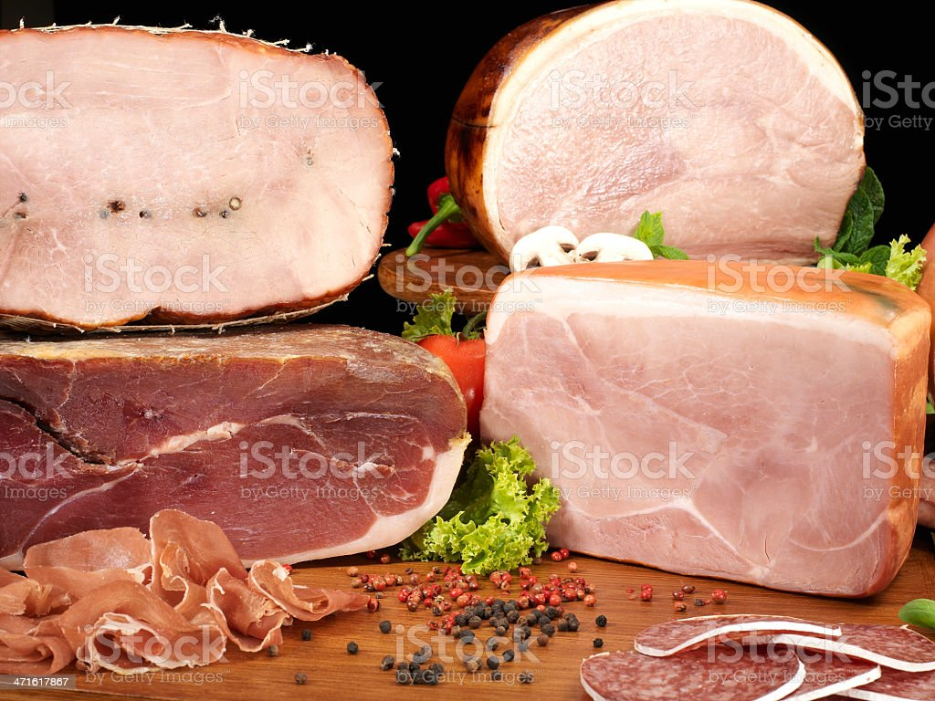 collection of cold cuts royalty-free stock photo