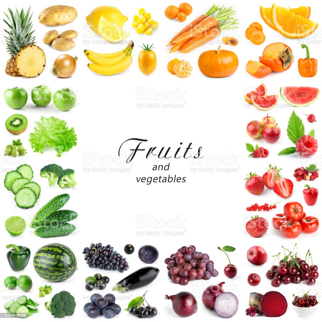 Collection of color fruits and vegetables on white background. Frame stock photo