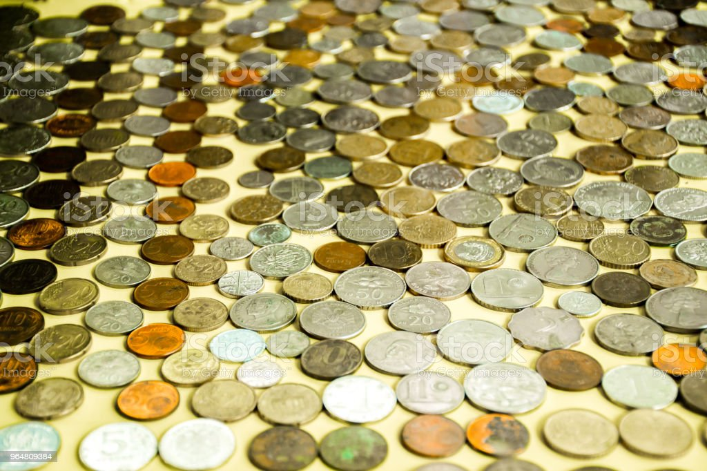 Collection of colorful coins of world royalty-free stock photo