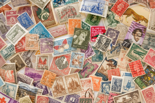 Old stamp collection.