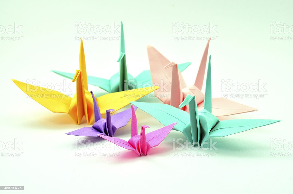 Collection Of Colorful Paper Birds And Origami Stock Photo More