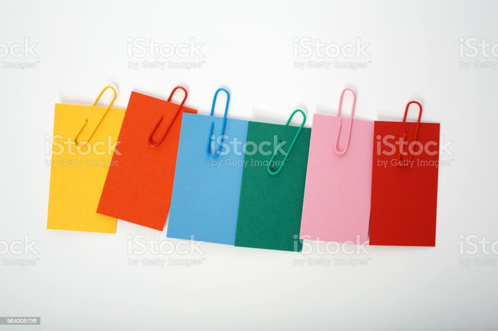 Collection of colorful paper notes - Royalty-free Binder Clip Stock Photo