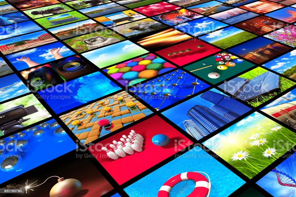 Collection of colorful photos stock photo