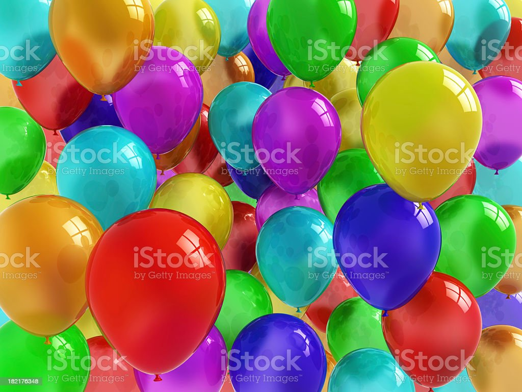Collection of colorful, shiny balloons stock photo