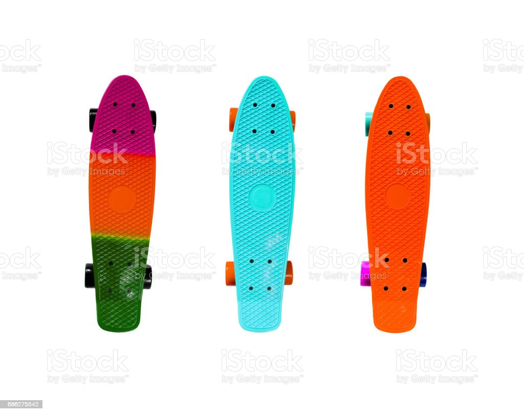 Collection of colorful skateboards stock photo