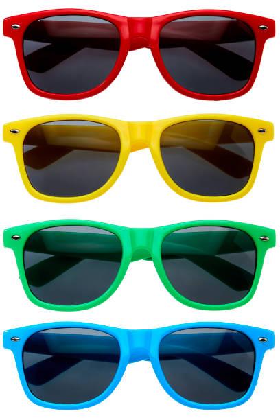 흰색 바탕에 연속에서 화려한 선글라스 컬렉션 - 선글라스 뉴스 사진 이미지