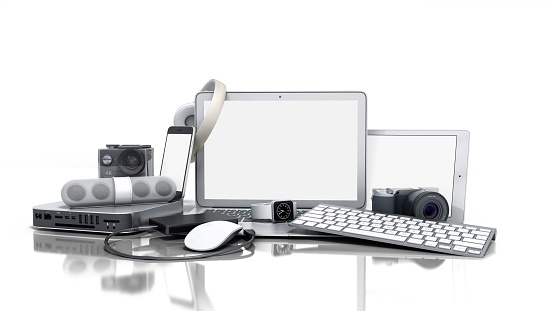collection of consumer electronics 3D render on white background