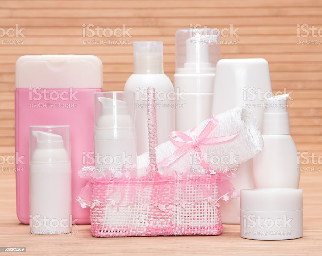 Collection of cosmetic products for skincare stock photo