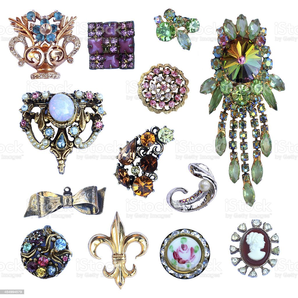 Collection of Costume Jewelry stock photo
