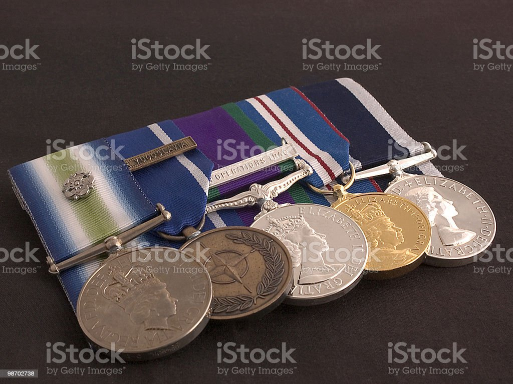 Collection of court mounted modern medals. stock photo