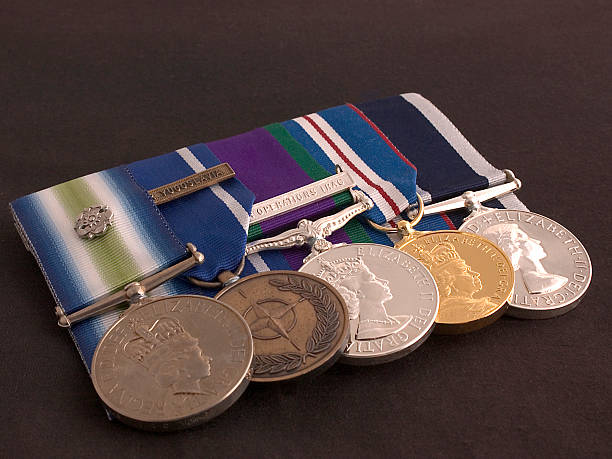 collection of court mounted modern medals. - uk military stock photos and pictures