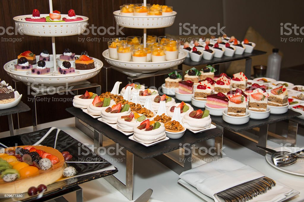 Collection of delicious assorted mini dessert stock photo