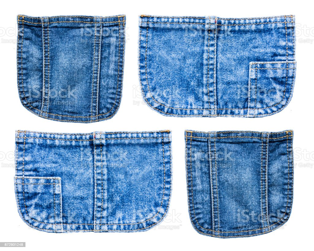 collection of Denim blue jeans pocket isolated on white background stock photo
