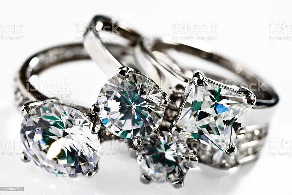 collection of diamond platinum rings royalty-free stock photo
