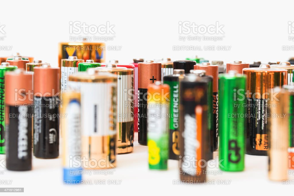 Collection of different battery brands royalty-free stock photo