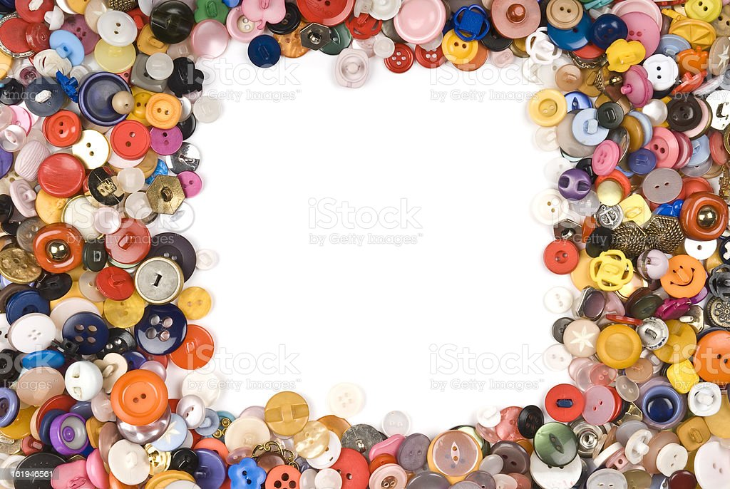 Collection of different buttons forming a border. royalty-free stock photo