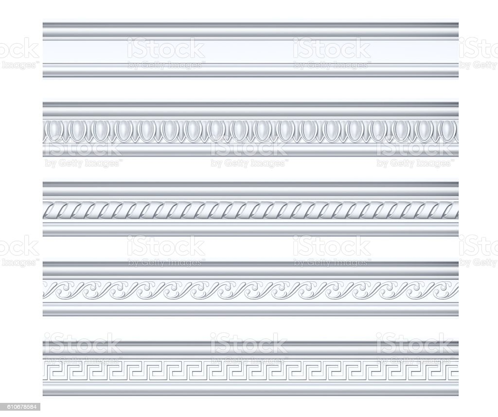 Collection of different classical cornices isolated on white stock photo