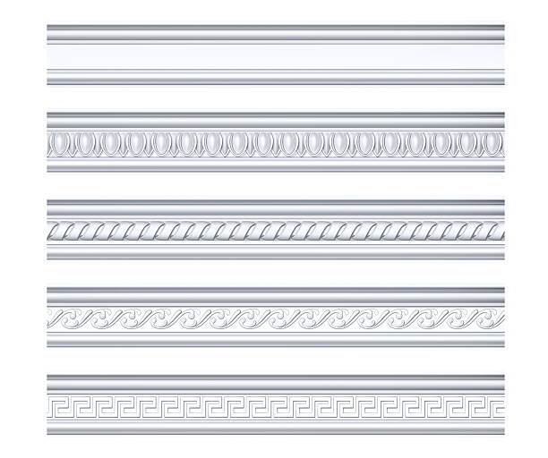 Collection of different classical cornices isolated on white - foto de acervo