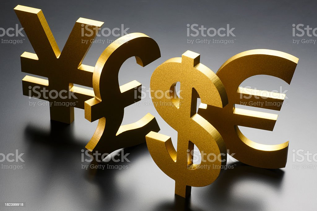 Collection Of Different Currency Symbols On Gray Background Stock