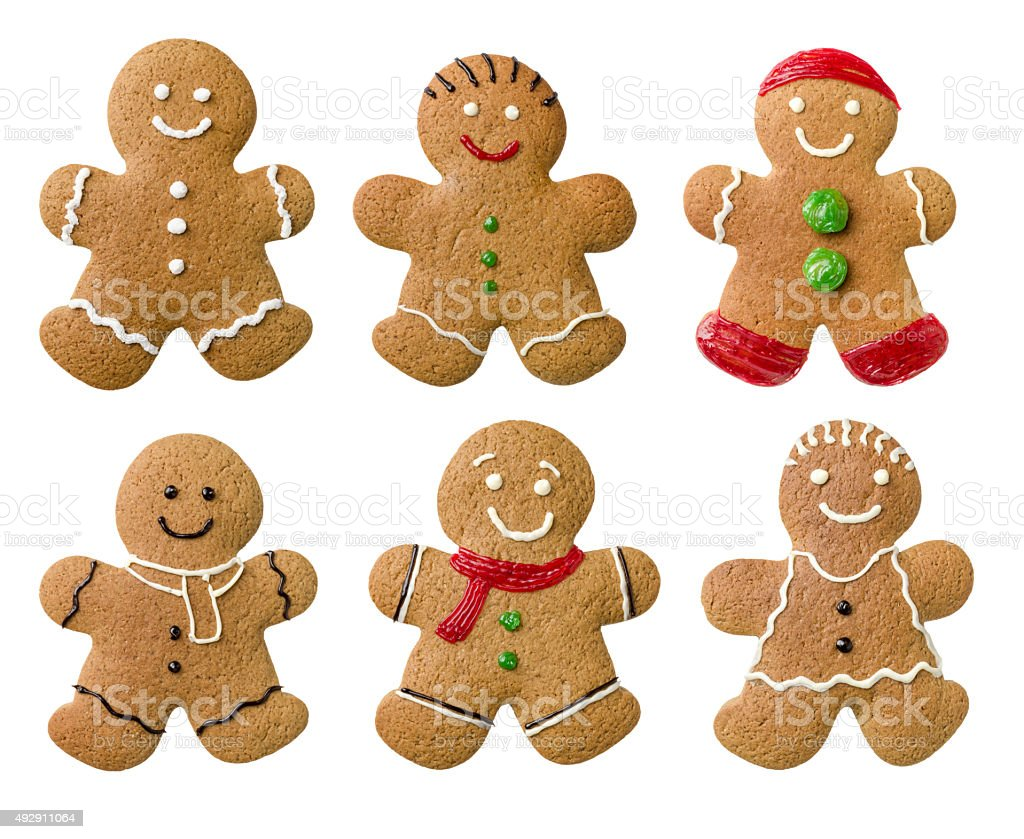 Collection of different gingerbread men on a white background stock photo