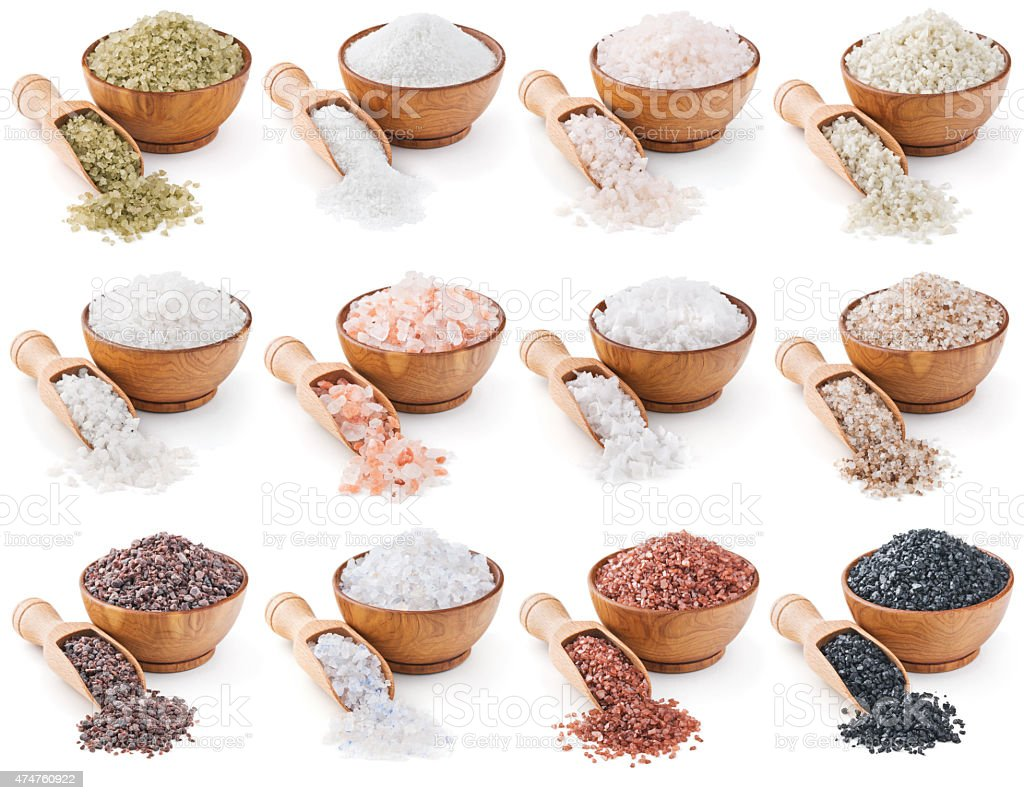 collection of different types salt isolated on white stock photo