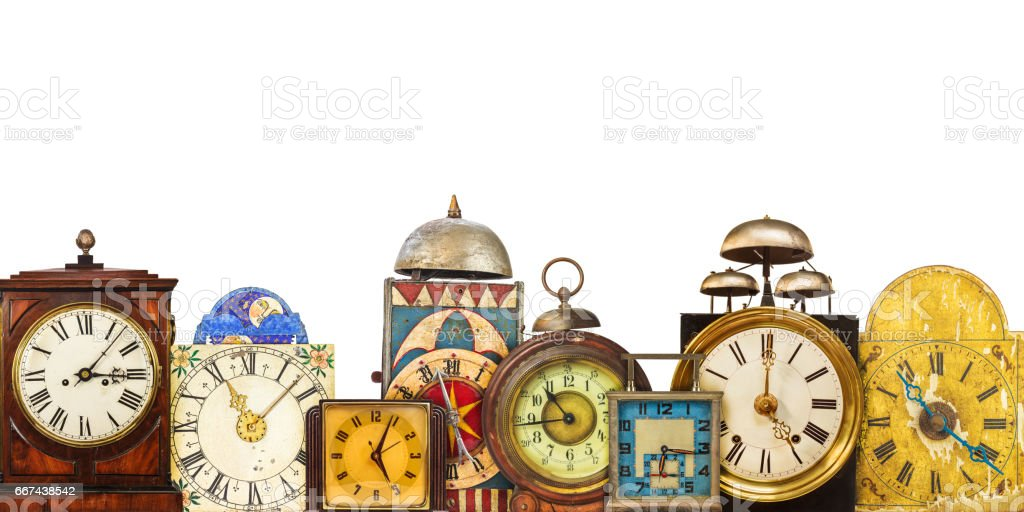 Collection Of Different Vintage Table Clocks Royalty Free Stock Photo