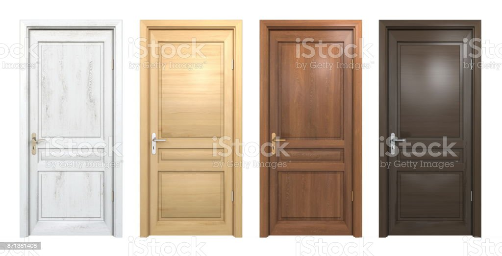 Collection of different wooden doors isolated on white stock photo